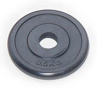 Диск под штангу JOHNS d26 мм черн. обрезиненный, 0,5 кг