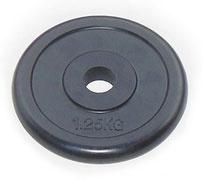 Блин для штанги JOHNS d26 мм черн. обрезиненный, 1,25 кг
