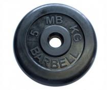 Диск обрезиненный, черного цвета, 31 мм MB Barbell MB-PltB31-5