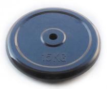 Блин для штанги 26 мм JOHNS черн. обрезиненный, 15 кг