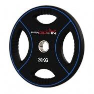 PANGOLIN WP012PU - Диск олимпийский полиуретановый черный с цветными вставками, с 4-мя хватами, номинал веса 20 кг