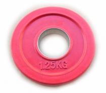 Блин для штанги обрезиненный диск 51 мм 1,25 кг цветной J-2351125C
