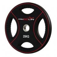 PANGOLIN WP012PU - Диск олимпийский полиуретановый черный с цветными вставками, с 4-мя хватами, номинал веса 25 кг