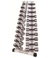 Prof Line Lite FT-410 Набор хромированных гантелей 0.5 до 10 кг с подставкой Елочка