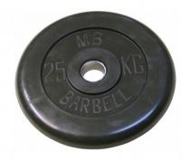 Диск обрезиненный, черного цвета, 31 мм MB Barbell MB-PltB31-25