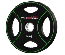 PANGOLIN WP012PU - Диск олимпийский полиуретановый черный с цветными вставками, с 4-мя хватами, номинал веса 10 кг