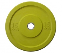 Блин бамперный для кроссфита «JOHNS» APOLO Bumper, d-51мм., цветной цельно резиновый, 15 кг.