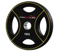 PANGOLIN WP012PU - Диск олимпийский полиуретановый черный с цветными вставками, с 4-мя хватами, номинал веса 15 кг