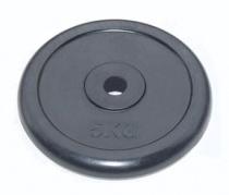 Диск для штанги 26 мм JOHNS черный обрезиненный, 5 кг