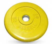 Диск обрезиненный желтого цвета, 31 мм MB Barbell MB-PltC31-15