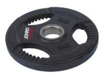 Обрезиненный диск с тройным хватом 51 мм 5 кг черный J-915105B
