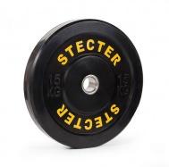 Каучуковый диск для штанги 15 кг черный