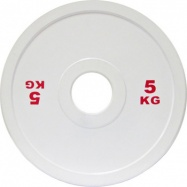 Диск для пауэрлифтинга стальной 5 кг белый IPF стандарт