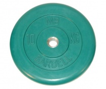 Диск обрезиненный, зеленого цвета 26 мм MB Barbell 26 мм MB-PltC26-10