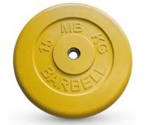 Диск обрезиненный, желтого цвета 26 мм MB Barbell 26 мм MB-PltC26-15