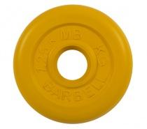 Диск обрезиненный 31 мм 1,25 кг желтый MB Barbell MB-PltC31-1,25