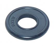 Спортивный блин для штанги JOHNS d51 мм черн. обрезиненный, 0,5 кг