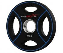 PANGOLIN WP012PU - Диск олимпийский полиуретановый черный с цветными вставками, с 4-мя хватами, номинал веса 2.5 кг