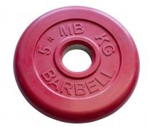 Диск обрезиненный, красного цвета 26 мм МВ Барбел MB-PltC26-5