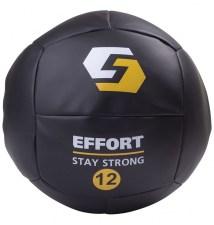 Медбол для кроссфита E252, кожзам, 12 кг, черный