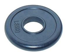 Стальной диск для штанги 51 мм JOHNS черн. обрезиненный, 1,25 кг