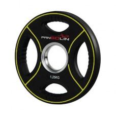 PANGOLIN WP012PU - Диск олимпийский полиуретановый черный с цветными вставками, с 4-мя хватами, номинал веса 1.25 кг