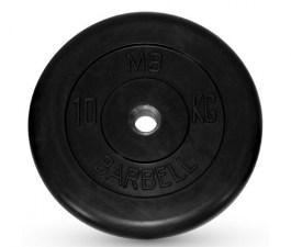 Диск обрезиненный, черного цвета 26 мм MB Barbell MB-PltB26-10