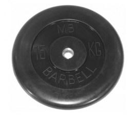 Диск обрезиненный, черного цвета, 31 мм МВ Барбел MB-PltB31-15