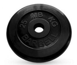 Диск обрезиненный, черного цвета 26 мм MB Barbell MB-PltB26-25