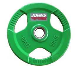 Обрезиненный диск с тройным хватом 51 мм 10 кг цветной J-915110C