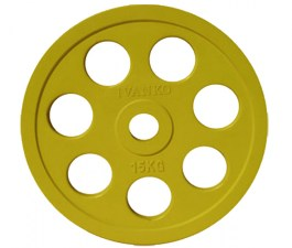 Диск обрезиненный с хватами JOHNS 15кг., d51мм., желтый