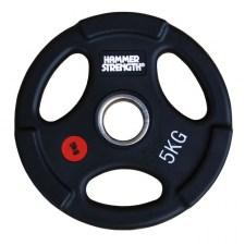 PANGOLIN WP074B - Диск олимпийский обрезиненный черный, с 3-мя хватами, номинал веса 5 кг
