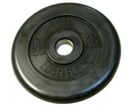 Диск обрезиненный, черного цвета, 31 мм МВ Барбел MB-PltB31-20