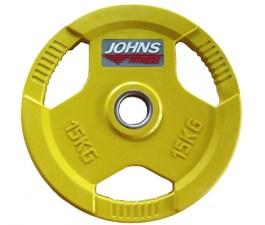 Обрезиненный диск с тройным хватом 51 мм 15 кг цветной J-915115C