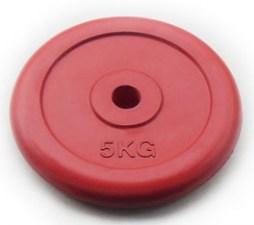 Блин для штанги 26 мм JOHNS цветной обрезиненный, 5 кг