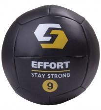 Фитнес-мяч медбол EMD9, кожзам, 9 кг, черный