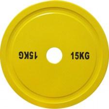 Диск для пауэрлифтинга стальной 15 кг желтый DHS