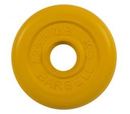 Диск обрезиненный 26 мм 1,25 кг желтый MB Barbell MB-PltC26-1,25