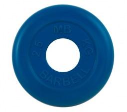 Диск обрезиненный 50 мм 2,5 кг синий МВ Барбелл MB-PLTC50-2,5