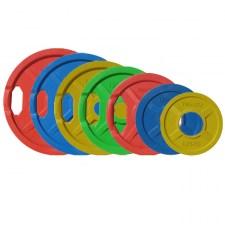 Набор дисков для штанги JOHNS цветн. 2-х хват. обрезин. d51мм от 1,25 кг до 25 кг