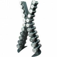 Стойка с набором хромированных гантелей от 0,5 до 10 кг XR410