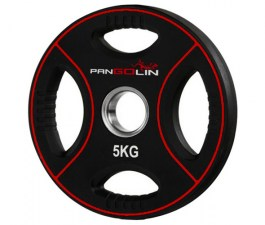 PANGOLIN WP012PU - Диск олимпийский полиуретановый черный с цветными вставками, с 4-мя хватами, номинал веса 5 кг