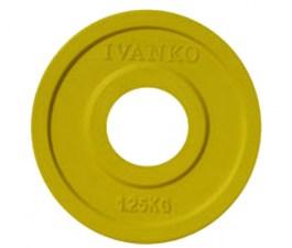 Блин спортивный JOHNS обрезиненный 1,25кг., d51мм., желтый