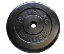Диск обрезиненный, черного цвета, 31 мм MB Barbell MB-PltB31-10